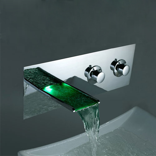 Contemporary Color Changing LED Two Handles Waterfall Widespread Bathroom Sink Faucet - T8001F