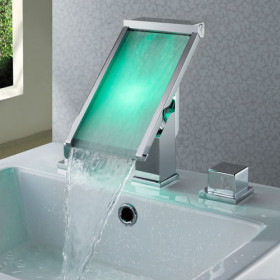 Contemporary Color Changing LED Waterfall Widespread Bathroom Sink Faucet - T8002-1