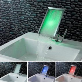 Contemporary Color Changing LED Waterfall Widespread Bathroom Sink Faucet - T8002-2