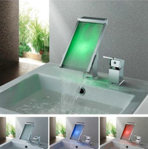 Contemporary Color Changing LED Waterfall Widespread Bathroom Sink Faucet - T8002-3