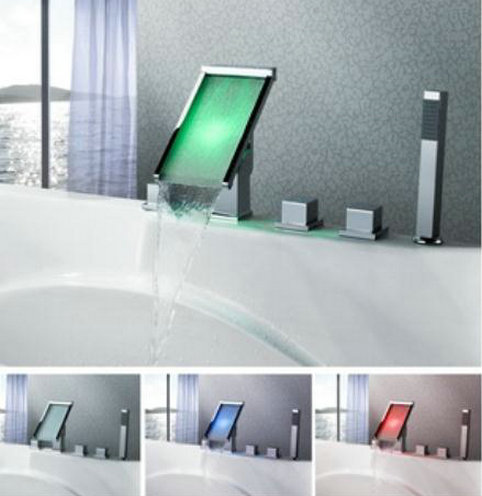 Contemporary Color Changing LED Waterfall Widespread Bathtub Faucet - T8002-4