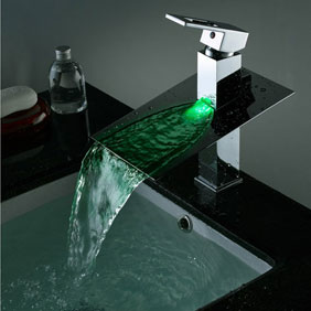 Contemporary Third Gear Cartridge Water-saving Color Changing LED Waterfall Bathroom Sink Faucet - T8003B
