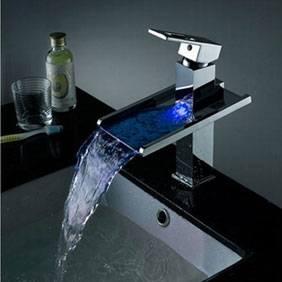 Contemporary Color Changing LED Pop up Waste Waterfall Bathroom Sink Faucet - T8004B