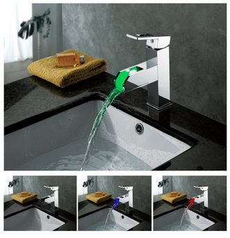 Contemporary Color Changing LED Waterfall Bathroom Sink Faucet - T8005-5