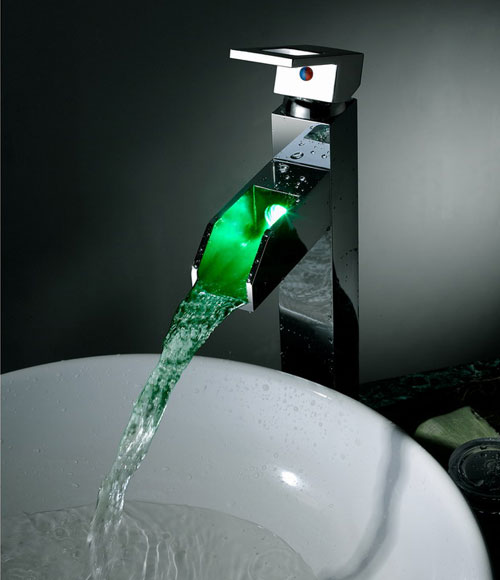 Contemporary Color Changing LED Tall Waterall Bathroom Sink Faucet - T8005-5H