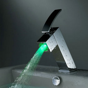 Contemporary Color Changing LED Bathroom Sink Faucet - T8006