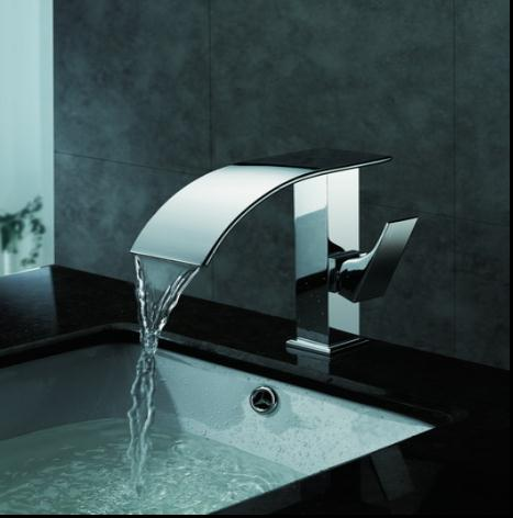 Contemporary Waterfall Bathroom Sink Faucet Chrome Finish T8007