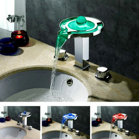 Contemporary Color Changing LED Waterfall Widespread Bathroom Sink Faucet - T8008-1F