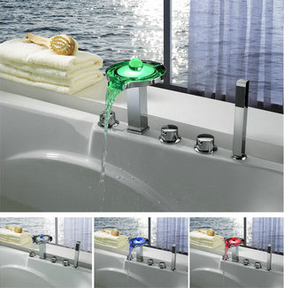 Contemporary Color Changing LED Tub Faucet with Hand Shower - T8008-4F