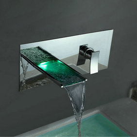 Contemporary Color Changing LED Waterfall Bathroom Sink Faucet T8013