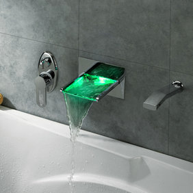 Contemporary LED Waterfall Tub Faucet with Pull-out Hand Shower - T8014