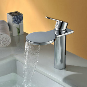 Contemporary Waterfall Bathroom Sink Faucet Chrome Finish T8024