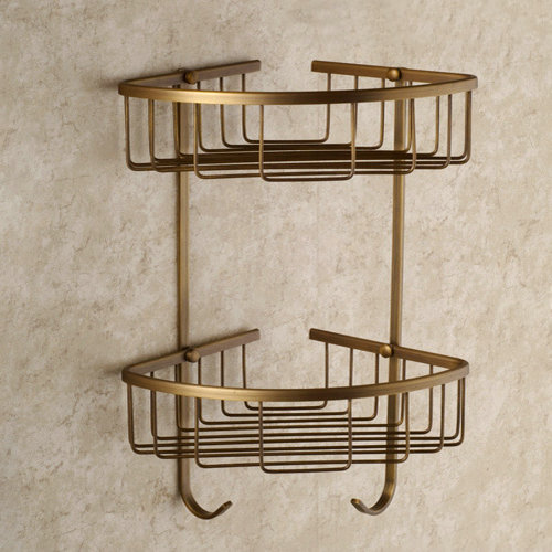 Antique Elegant Double Shelves Brass Material Bathroom Shelf AB6050