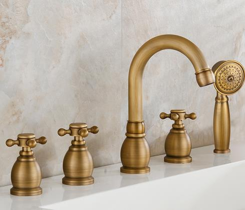 Antique Brass Five-pieces Widespread Tub Faucet with Hand Shower FBT0328
