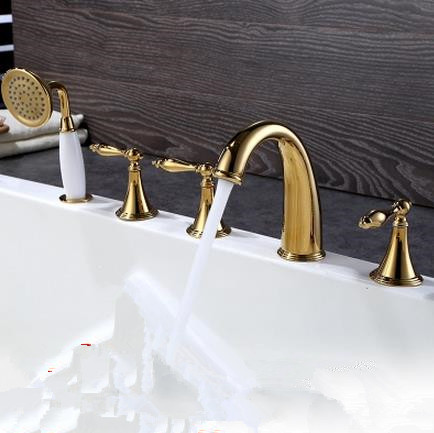 Antique Golden Printed Five-pieces Widespread Tub Faucet with Hand Shower FBT0678