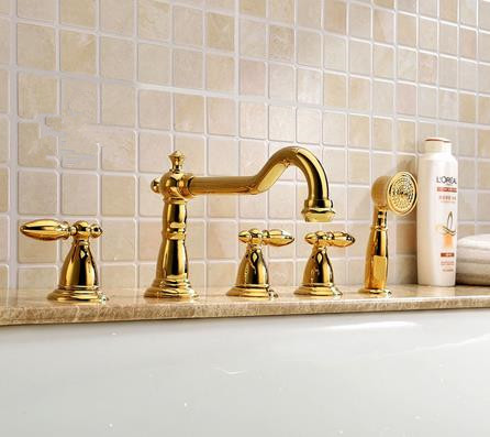 Antique Brass Golden Printed Luxury Widespread Tub Faucet with Hand Shower FBT0889