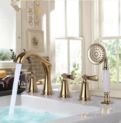 Antique Traditional Golden Printed Luxury Widespread Tub Faucet with Hand Shower FBT2280