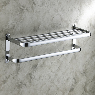 24 Inch Bathroom Shelf Solid Brass Chrome Finishd With Towel Bar TCB7403