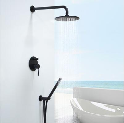 Antique Black Bronze Brass Bathroom Concealed Installation Rainfall Shower Set FS0615C