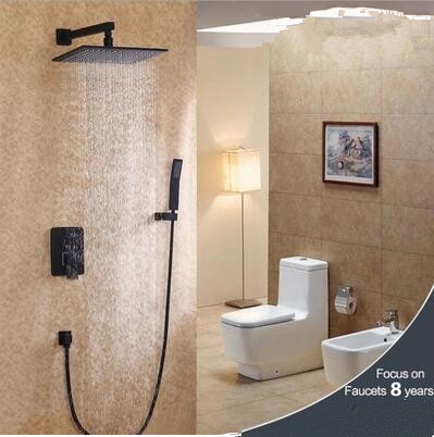 Antique Black Bronze Brass Bathroom Concealed Installation Rainfall Shower Set FS0658C