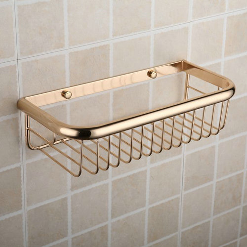 Antique Brass Ti-PVD Single Layer Wall-mounted Soap Basket TGB1011