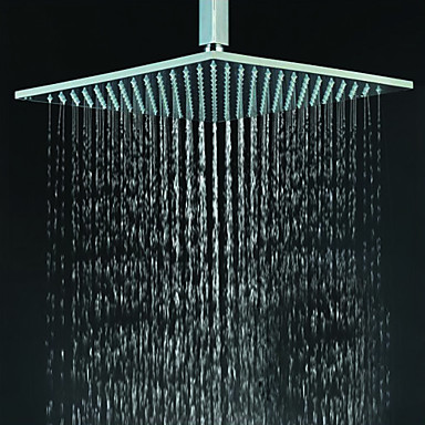 Contemporary Square Chrome Brass Faint LED Light Shower Head HB12F