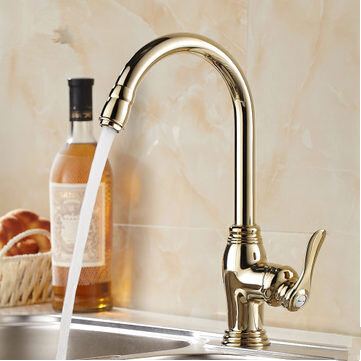 Antique Gold Copper Finish One Hole One Handle Mixed Water Never Fade Kitchen Faucet HP3003