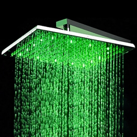 Contemporary Stainless Steel Shower Head with Color Changing LED Light HS12F