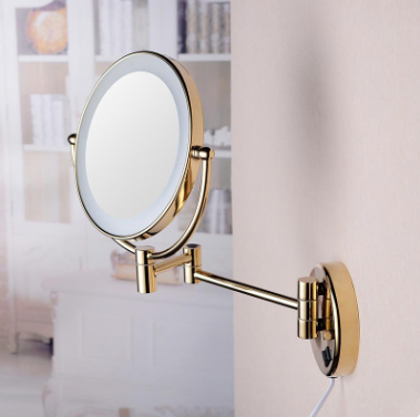 New Designed Wall Mounted With LED Light Folding Golden Printed Bathroom Mirror MB192