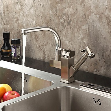 Solid Brass Spring Pull Out Kitchen Faucet - Polished Nickel Finish N1770