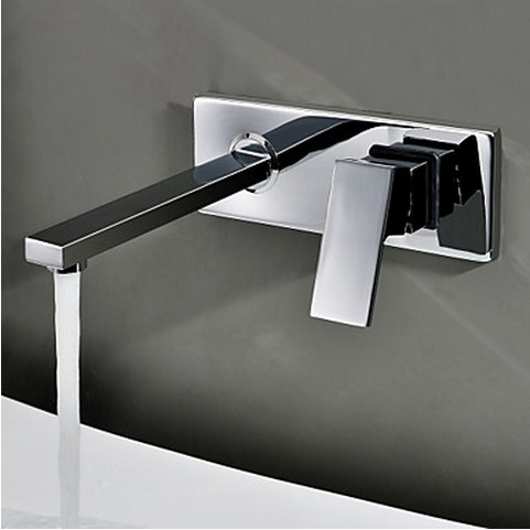 Contemporary Wall Mount Bathroom Sink Faucet (Chrome Finish) TQ0482