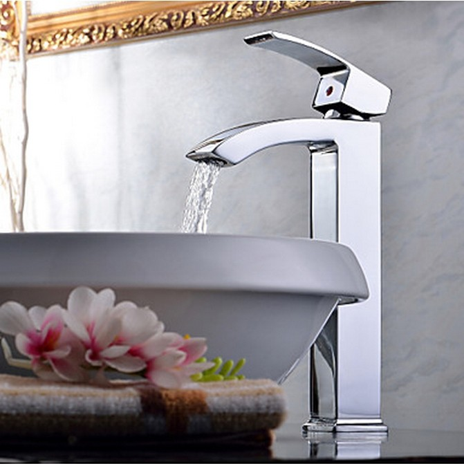 Contemporary Chrome One Hole Single Handle Bathroom Sink Faucet TQ0531H