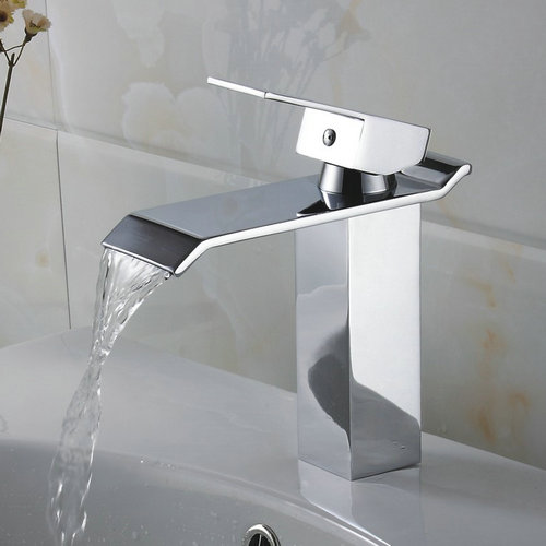 Contemporary Waterfall Bathroom Sink Faucet - Chrome Finish TQ3002