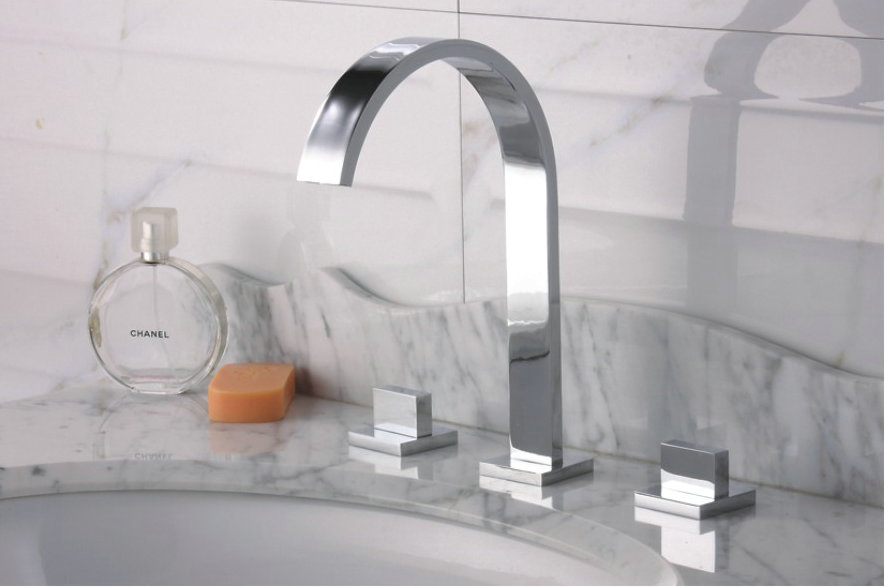 Widespread Contemporary Chrome Bathroom Sink Faucet TQ30083