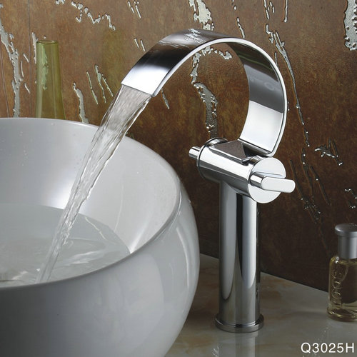 Special Design Chrome Finish Waterfall High Curve Spout Bathroom Sink Faucet TQ3025H