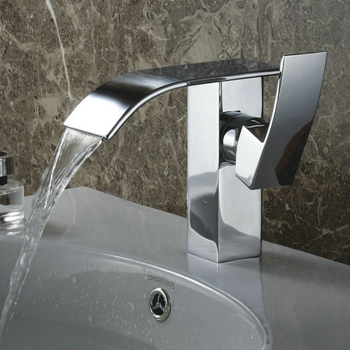Contemporary Waterfall Bathroom Sink Faucet (Chrome Finish) TQ3026