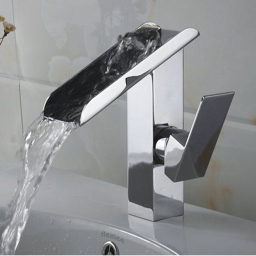 Single Handle Contemporary Solid Brass Waterfall Bathroom Sink Faucet Chrome Finish TQ3028