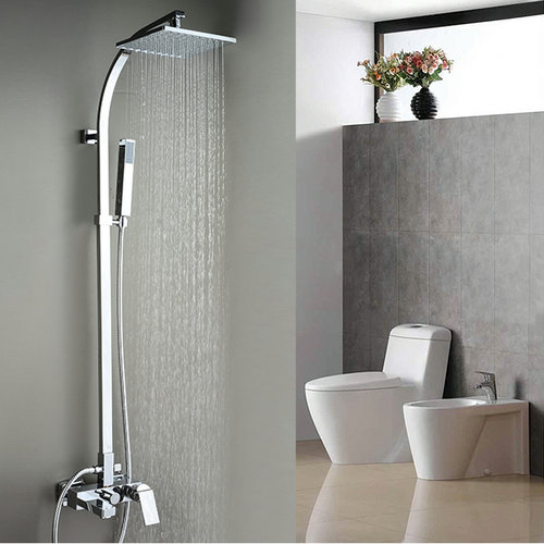 Contemporary Tub Shower Faucet with 8 inch Shower Head + Hand Shower TSC033