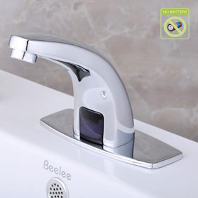Contemporary Cold Water Automatic Touchless Chromewith Hydropower Sensor Bathroom Sink Faucet - T0115P