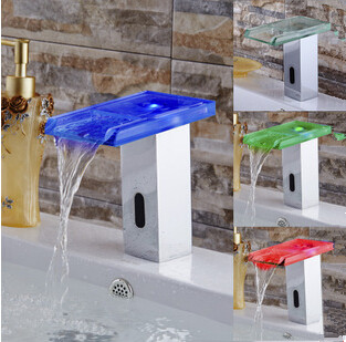 New Arrival Automatic LED Color Changing Bathroom Glass Spout Sink Faucet T0350