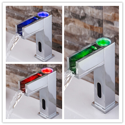 Automatic Brass LED Color Changing Bathroom Sink Faucet T0380