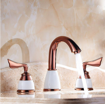 Classic Antique Brass Widespread Rose Gold Bathroom Sink Faucet T0452R
