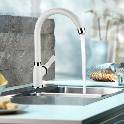 Contemporary Centerset White Painting Kitchen Sink Faucet T0553
