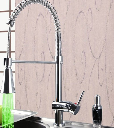 Contemporary LED Colour Change Single Handle Chrome Centerset Pull-out Kitchen Faucet T0746