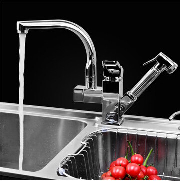 Chrome Two Handles Pull Out Mixer Centerset Kitchen Faucet T0790E
