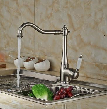 Vintage Style Nickel Brushed Curve Design Kitchen Faucet T0797N