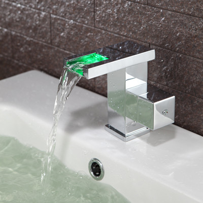 Contemporary Color Changing LED Bathroom Sink Faucet - T0828F