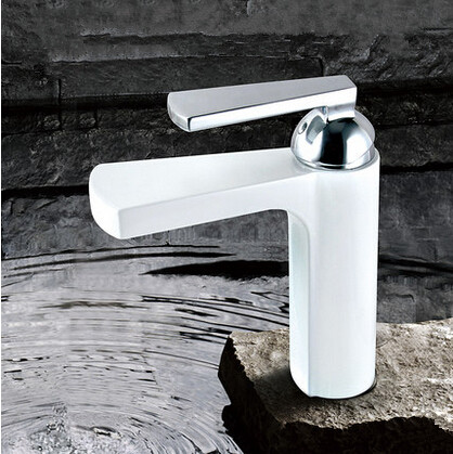 New Brass High Quality Bathroom Mixer Faucet White Waterfall Faucet T1020W