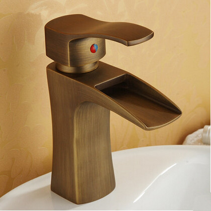 Antique Waterfall Brass Brushed Bathroom Sink Faucet T1023D