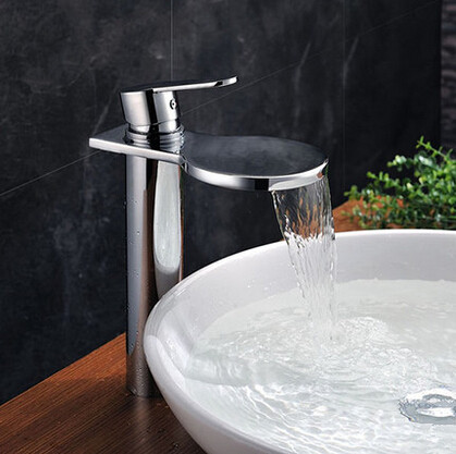 Creative Waterfall Brass Bathroom Sink Faucet High Version T1027W